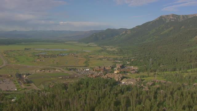 ws aerial view of orbit jackson hole mountain resort / jackson wyoming united states - wyoming stock videos & royalty-free footage