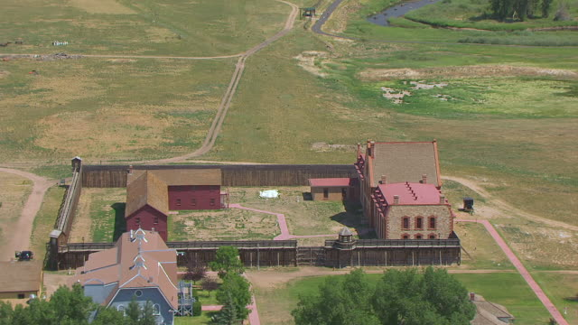 ws aerial ts view of orbit territorial state prison / wyoming, united states  - prison building stock videos & royalty-free footage