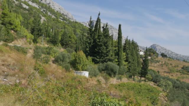 view of orebic and adriatic sea from panorama cafe and church, dalmatia, croatia, europe - adriatic sea stock videos & royalty-free footage