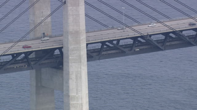 MS AERIAL View of oresund bridge / Copenhagen, Denmark