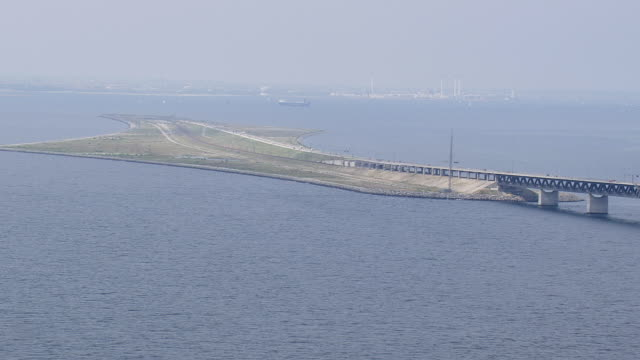 WS AERIAL ZI View of oresund bridge / Copenhagen, Denmark