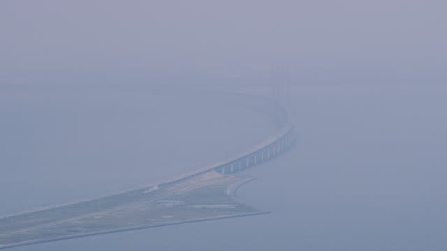 WS AERIAL View of oresund bridge / Copenhagen, Denmark