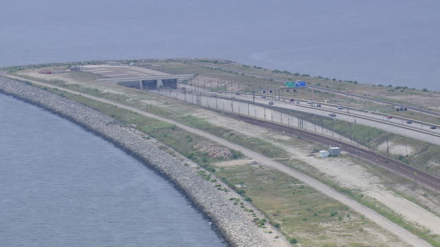 WS AERIAL View of oresund bridge tunnel / Copenhagen, Denmark