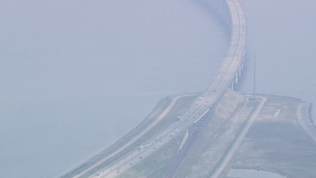 WS AERIAL ZI View of oresund bridge tunnel entrance / Copenhagen, Denmark