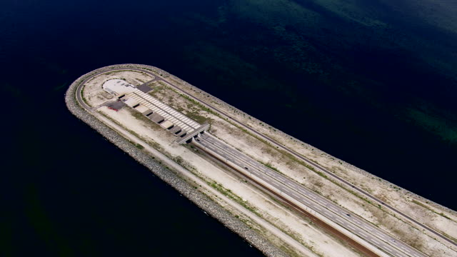 WS AERIAL ZO View of oresund bridge tunnel entrance / Copenhagen, Denmark