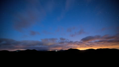 ws t/l view of oreum (parasitic volcano) in jeju and sky at night / seogwipo, jeju island, south korea - day 個影片檔及 b 捲影像
