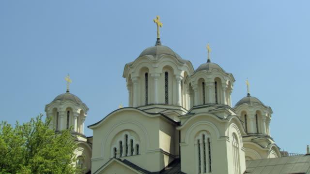 ws td zo view of orthodox church/ ljubljana, slovenia - 宗教上のシンボル点の映像素材/bロール