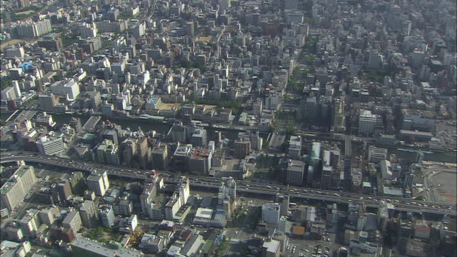 aerial ws view of osaka city / osaka, japan  - kuppeldach oder kuppel stock-videos und b-roll-filmmaterial