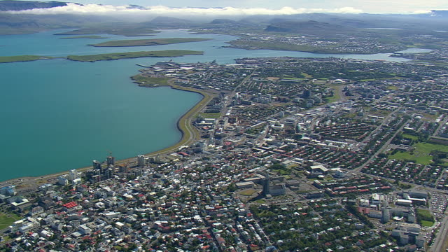 WS AERIAL View of Oskjuhlid cityscape / Iceland