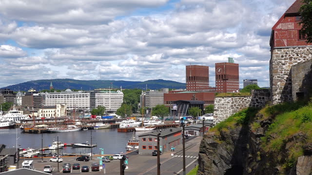 WS View of Oslo City Hall with harbour / Oslo, Norway