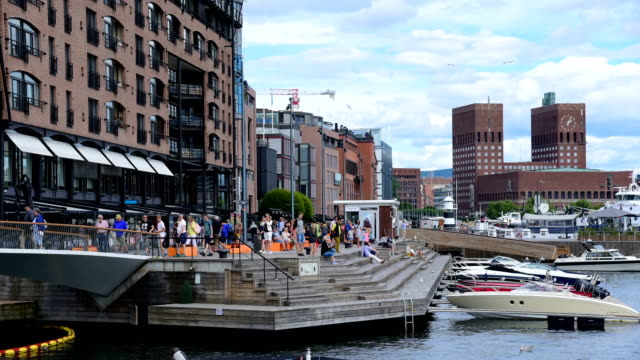 View of Oslo City Hall with harbour / Oslo, Norway