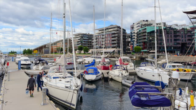 view of oslo city hall with harbour / oslo, norway - nautical vessel stock videos & royalty-free footage