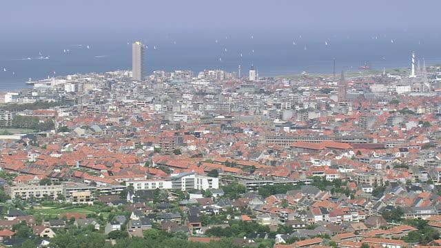 vidéos et rushes de ws aerial zi zo view of ostende city near ocean / flanders, belgium - belgique