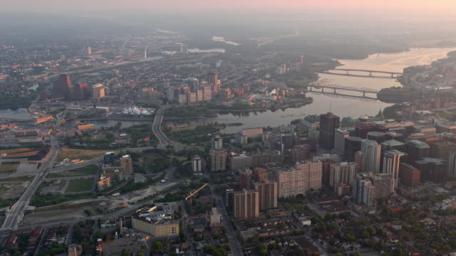 aerial view of ottawa and gatineau with ottawa river at sunrise - ottawa stock videos & royalty-free footage