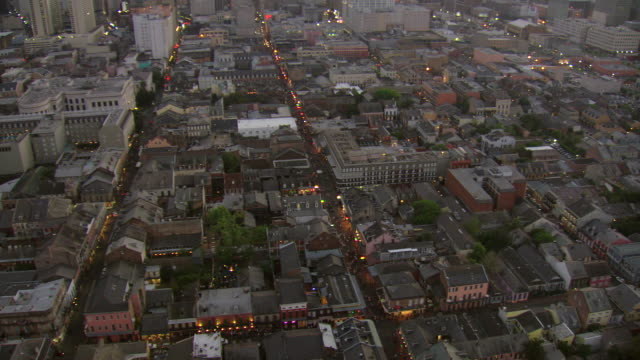 ws aerial view of outdoor pedestrians on bourbon street with surrounding streets / new orleans, louisiana, united states - bourbon street new orleans stock videos and b-roll footage