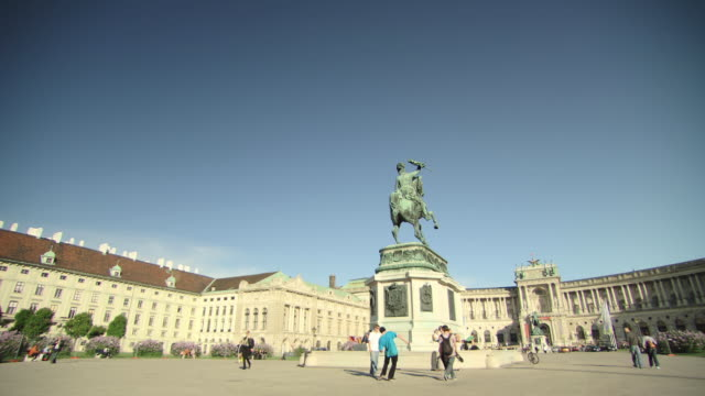 ws pan view of outside of museum / vienna, austria - animal representation stock videos & royalty-free footage