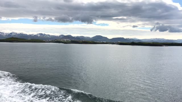 View of outside on Icelandic boat, Iceland