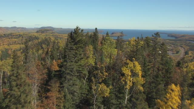 ws aerial view of over fall foliage and hills to reveal lake / minnesota, united states - minnesota bildbanksvideor och videomaterial från bakom kulisserna