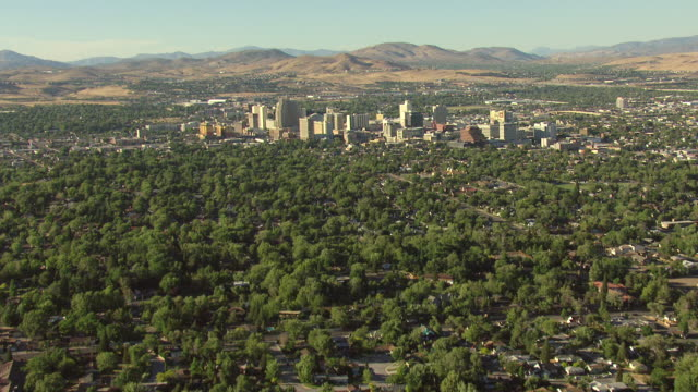 WS AERIAL TU View of over green suburbs with houses and tress and skyscrapers with mountains / Reno, Nevada, United States