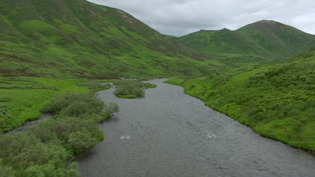 WS AERIAL View of over Karluk river / Kodiak Island, Alaska, United States