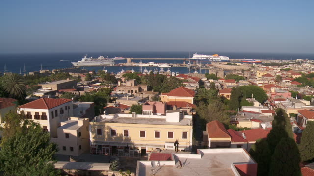 ws view of over rhodes town / rhodes, dodecanese islands, greece - rhodes dodecanese islands stock videos & royalty-free footage