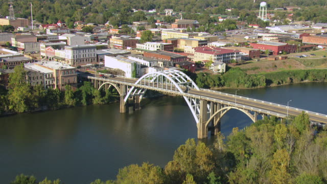 stockvideo's en b-roll-footage met ws aerial view of over trees to reveal downtown buildings and edmund pettus bridge / selma, alabama, united states - alabama