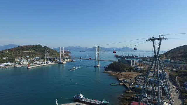 View of Overhead Cable Car and Dolsan Bridge in Yeosu, Jeollanam-do