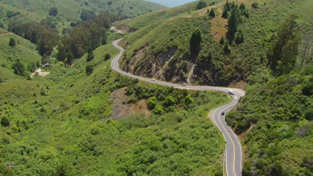 WS TS AERIAL View of Pacific Coast Highway towards Muir Beach / San Francisco, California, United States