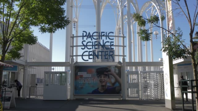 view of pacific science centre entrance, seattle, washington state, united states of america, north america - north pacific stock videos & royalty-free footage
