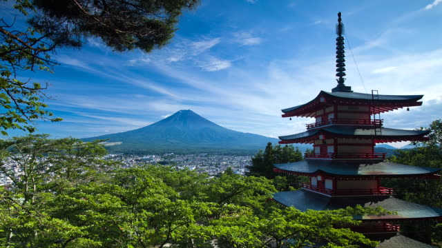 stockvideo's en b-roll-footage met ws t/l view of pagoda and mount fuji / fujiyoshida, yamanashi, japan - traditie