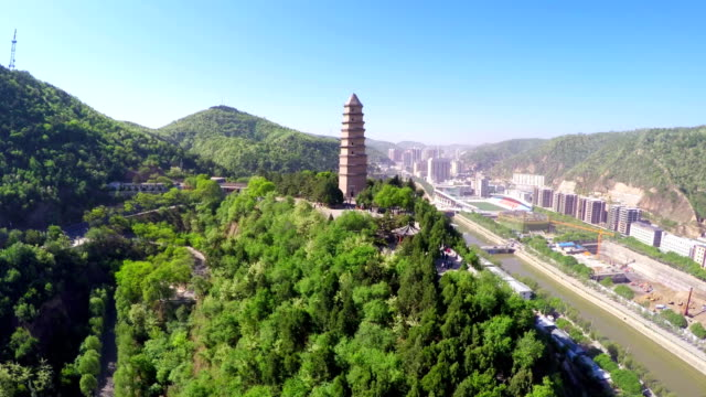 ws aerial view of pagoda mountain in yan'an city / shaanxi, china - pagoda stock videos & royalty-free footage
