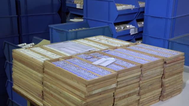 MS TD View of Paint Pastels Ready for Packaging and Shipping / Dusseldorf, Germany