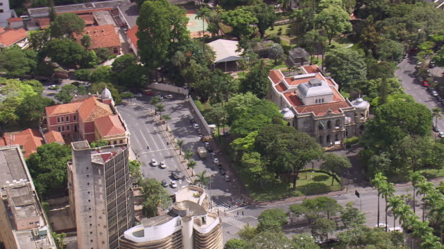 ws aerial view of palacio da liberdade / minas gerais, brazil - liberdade stock-videos und b-roll-filmmaterial