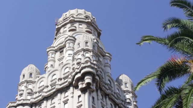 view of palacio salvo (salvo palace), montevideo, uruguay - montevideo stock videos & royalty-free footage