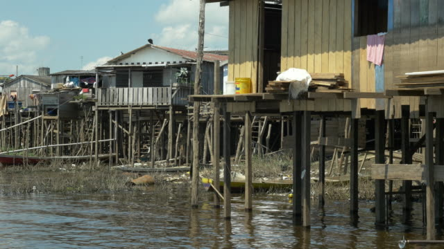 view of palafitte wooden houses during low tide at amazon - stilts stock videos and b-roll footage