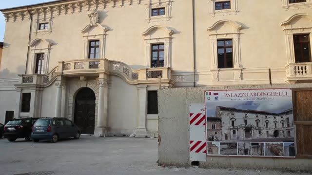 A view of Palazzo Ardinghelli rebuilt after the earthquake in L'Aquila on March 21 2017 The Eighth anniversary of the L'Aquila earthquake will be...
