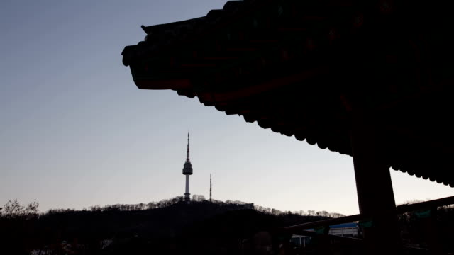 view of palgakjeong gazebo and n seoul tower (tourist attraction and famous landmark in seoul) - gazebo stock videos & royalty-free footage