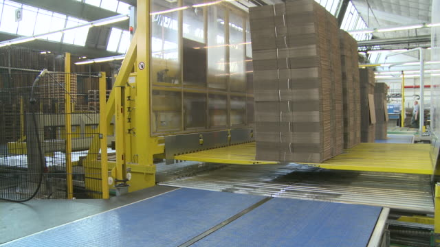 ms view of  palletising at corrugated paper mill / werne, north rhine westphalia, germany - paper mill stock videos and b-roll footage