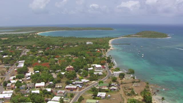 WS AERIAL POV View of palm tree beach at Esperanza / Vieques, Puerto Rico, United States