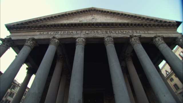 ws pan view of pantheon / rome, italy - pantheon rome stock videos and b-roll footage