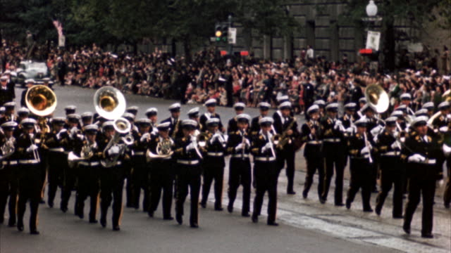 ms pan view of parade from navy - marching band stock videos and b-roll footage