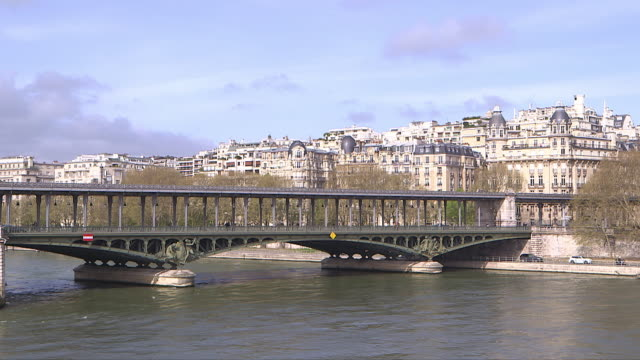 view of Paris, Bir-hakeim bridge with a metro