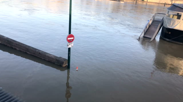 View of Paris floods showing underwater structures