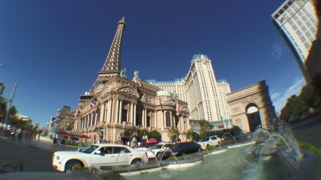 ws view of paris hotel and replica of eiffel tower / las vegas, nevada, usa - replica eiffel tower stock videos & royalty-free footage