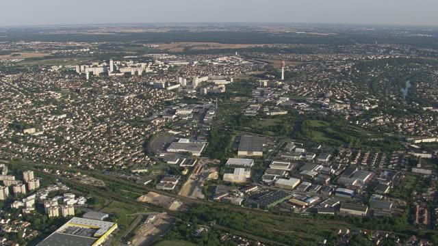 WS AERIAL View of Paris suburbs / Paris, France