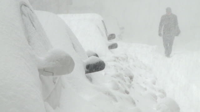 WS View of parked cars covered in snow during blizzard / Chicago, Illinois, USA