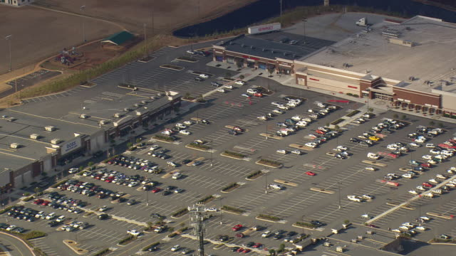 ws aerial view of parking area with kohls house / georgia, united states - kohls stock videos & royalty-free footage