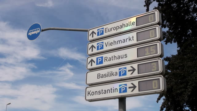 ws view of parking information signs / trier, rhineland palatinate, germany - guidance stock videos & royalty-free footage