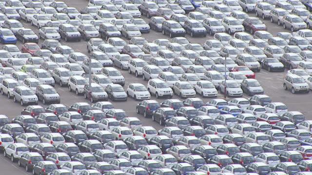 WS AERIAL ZO View of parking lot near dock / Sydney, New South Wales, Australia