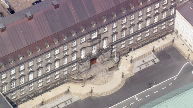 ws aerial zo view of parliament building in christiansborg slot / copenhagen, denmark - denmark stock videos & royalty-free footage
